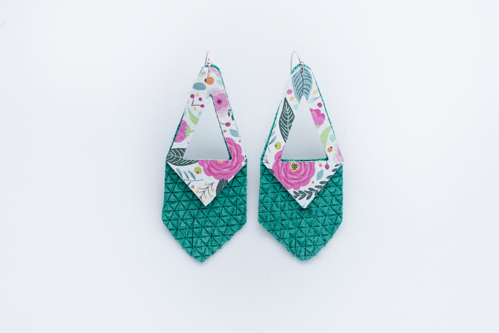Emerald Green & Floral Print Triangle Fringe