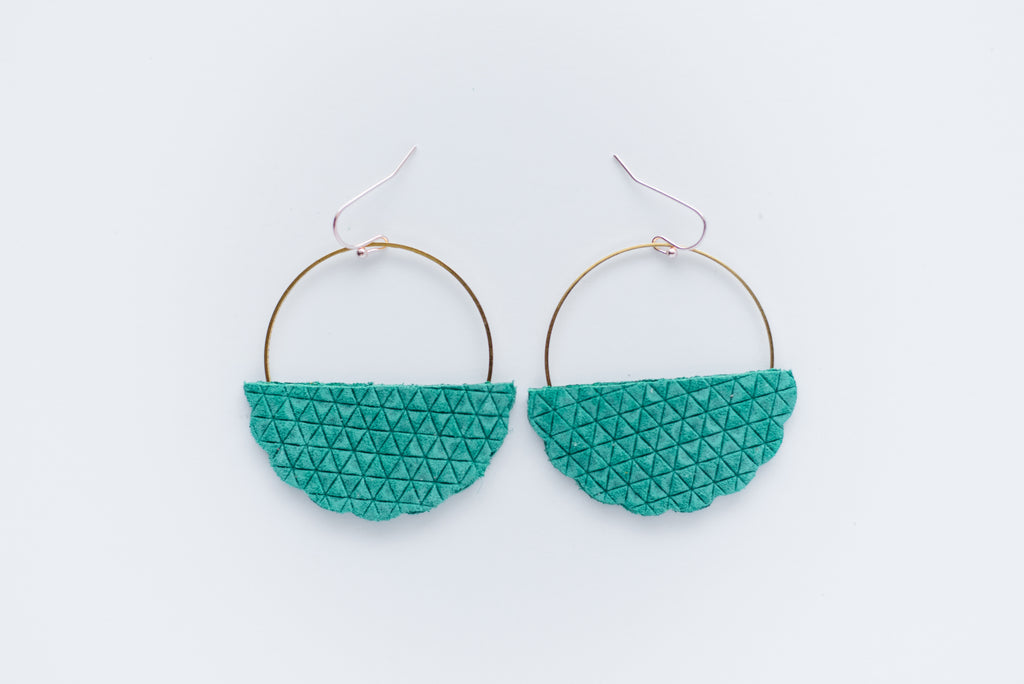 Emerald Green Mini Triangle Embossed Hoop Earrings