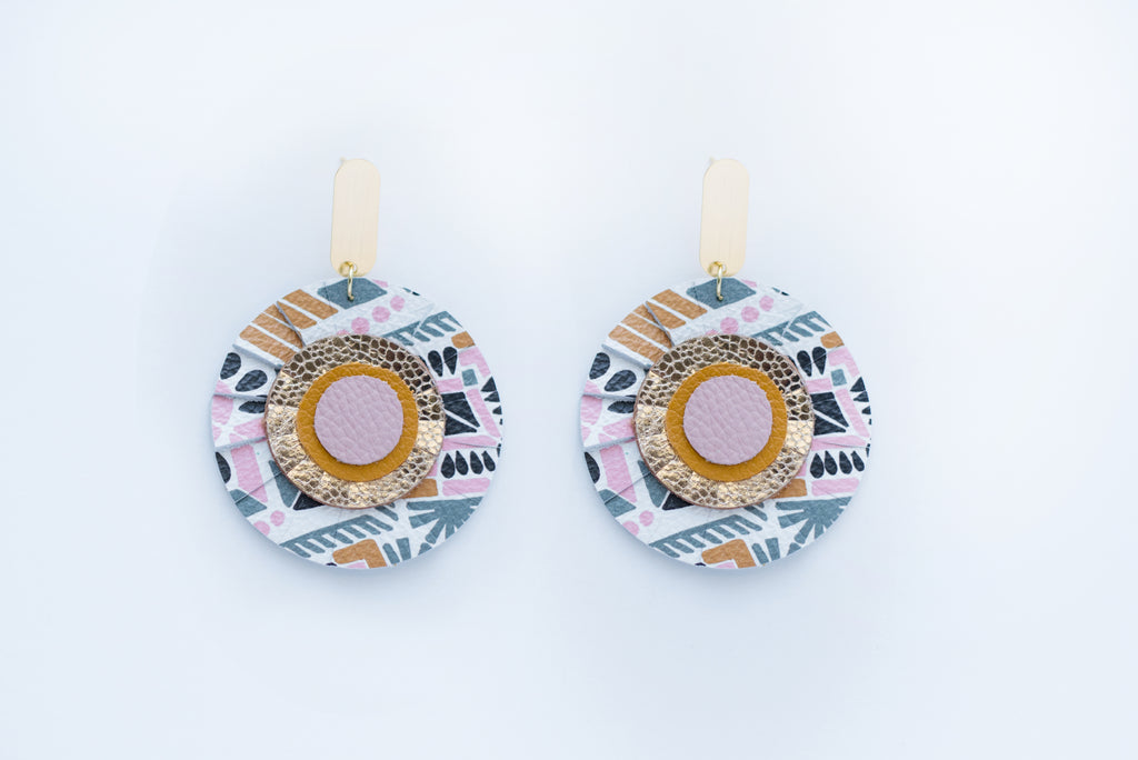 Pink Aztec Print Scalloped Circle Earrings