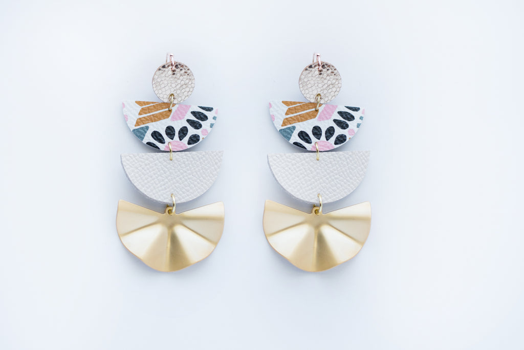 Pink Aztec Print, White, & Gold Fan Four Layer Geo Half Circle Earrings