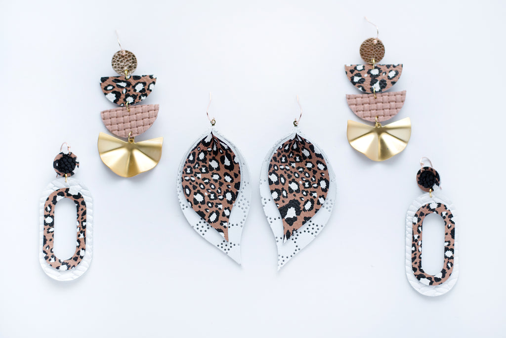 Urban Cheetah, Nude Pink Basketweave & Gold Fan Four Layer Geo Half Circle Earrings