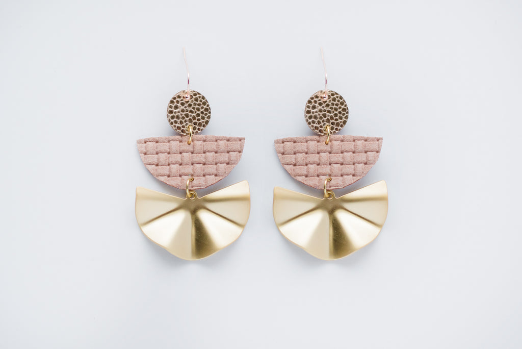 Nude Pink Basketweave & Gold Fan Triple Layer Geo Half Circle Earrings
