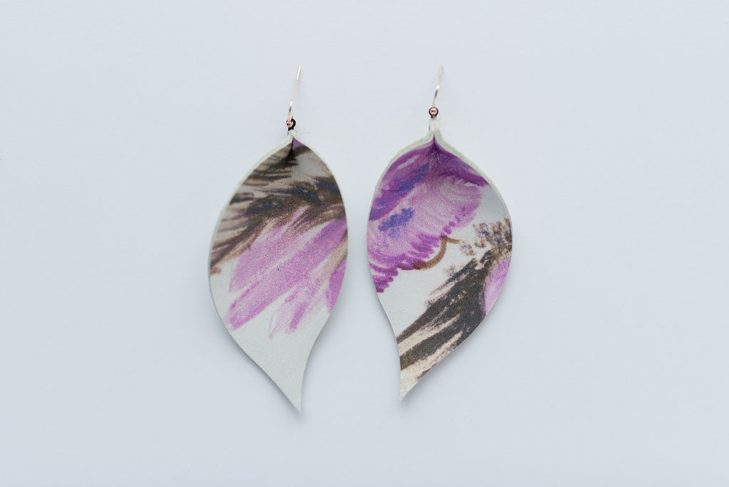 Lavender Watercolor Single Layer Leaf Earrings