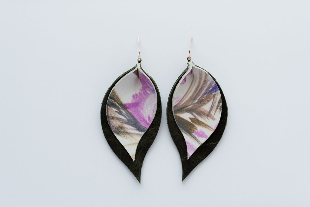 Lavender Watercolor Double Layer Leaf Earrings