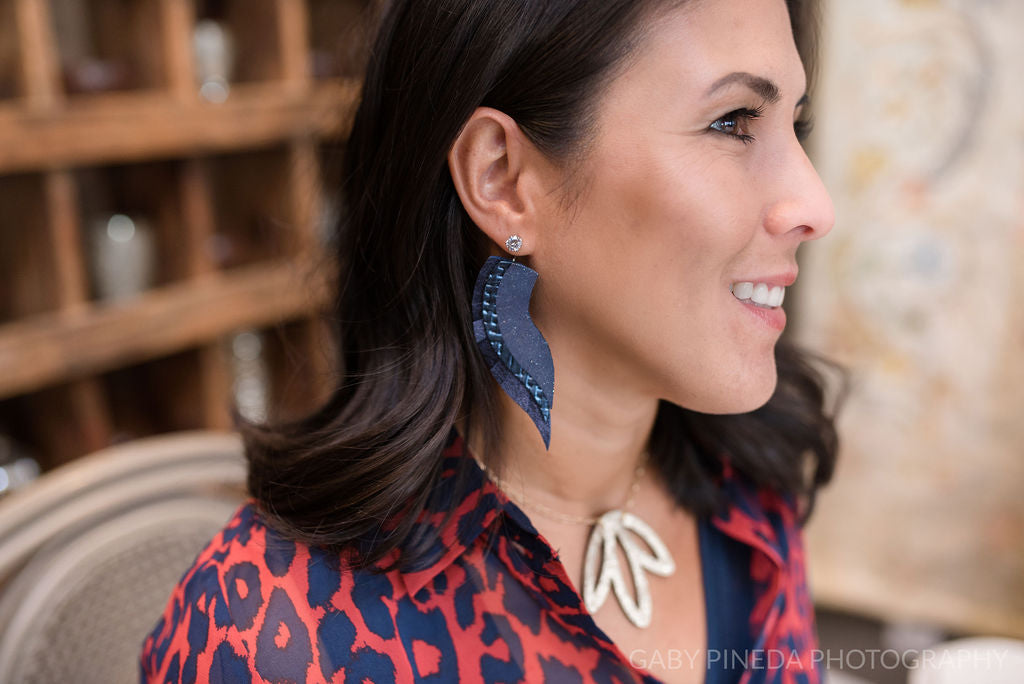 Starry Night Navy Angel Wing Earrings