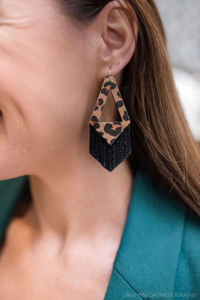 Leopard Cork and Black Triangle Fringe Earrings