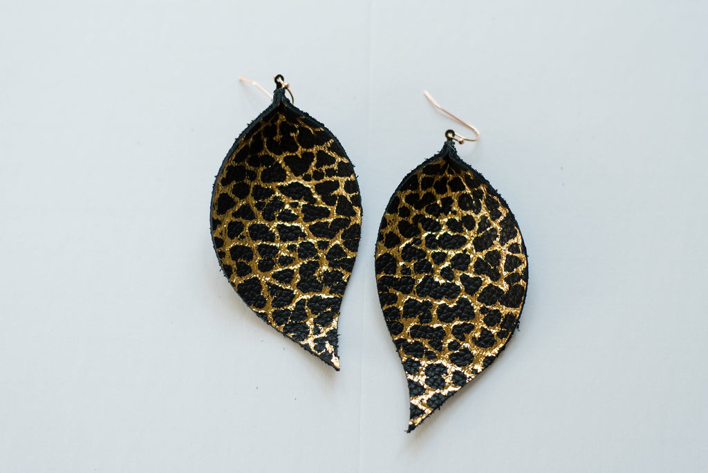 Black & Gold Dino Single Layer Leaf Earrings