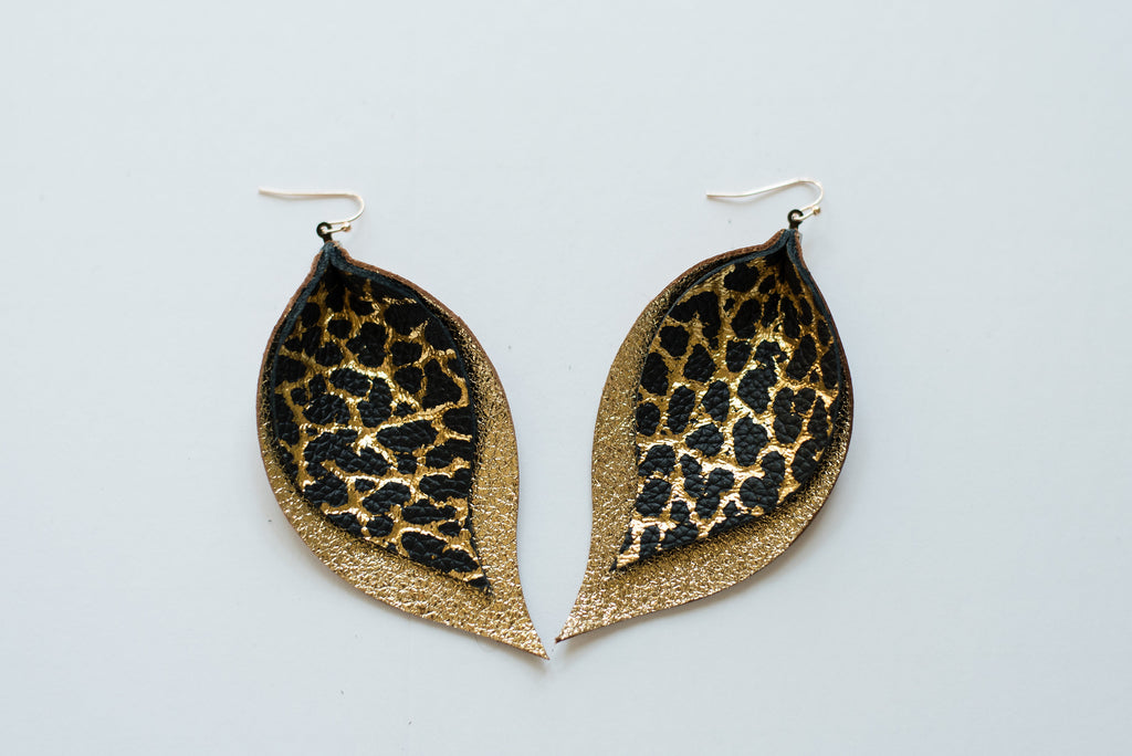 Black & Gold Dino on Glitter Gold Double Layer Leaf Earrings