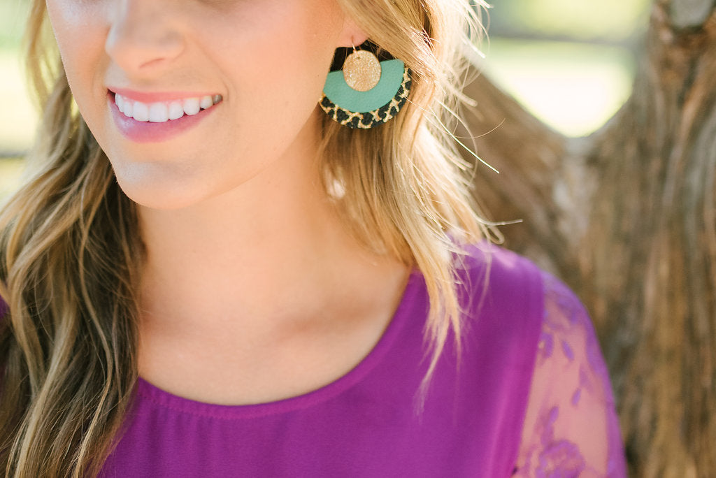 Teal & Gold Crackle Triple Layer Circle Earrings