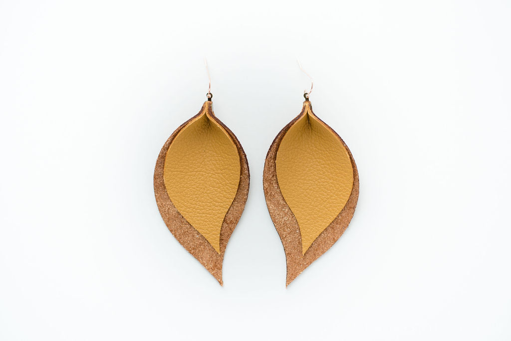 Double Layer Leaves in Mustard & Copper
