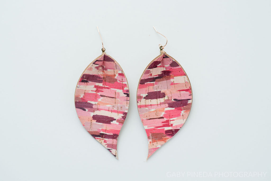 Pink Brush Strokes in Single Layer Leaf Earrings