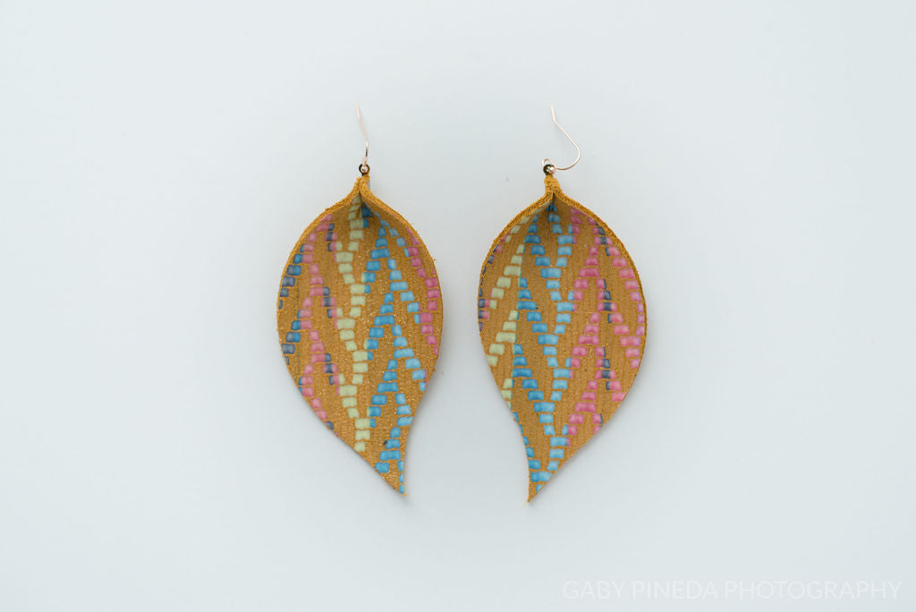 Mustard and Rainbow Chevron in Single Layer Leaf Earrings