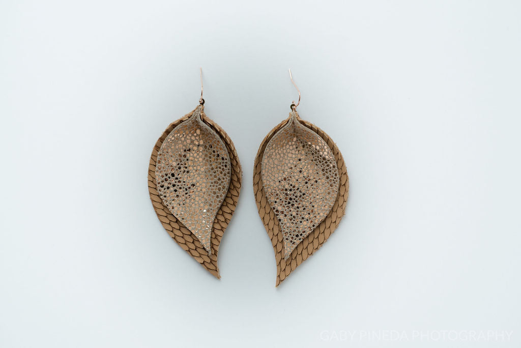 Rosegold Stingray and Texture Tan Double Layer Leaf Earrings