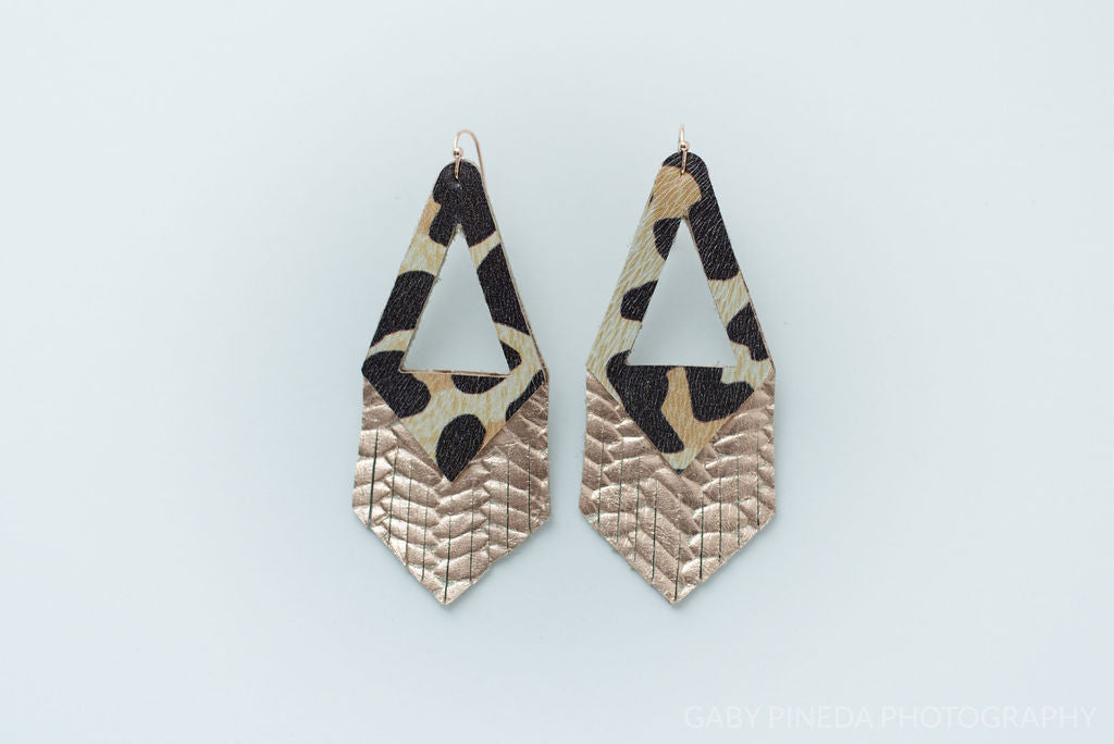 White Leopard and Rose Gold Triangle Fringe Earrings