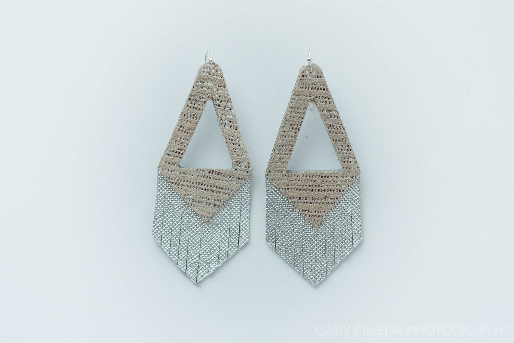 Silver Shimmer Triangle Fringe Earrings