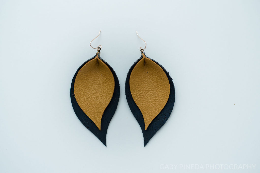 Mustard Yellow & Navy Cork Double Layer Leaf Earrings