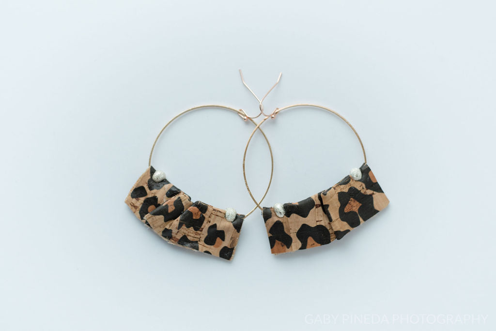 Ruffle Hoops in Cheetah Cork