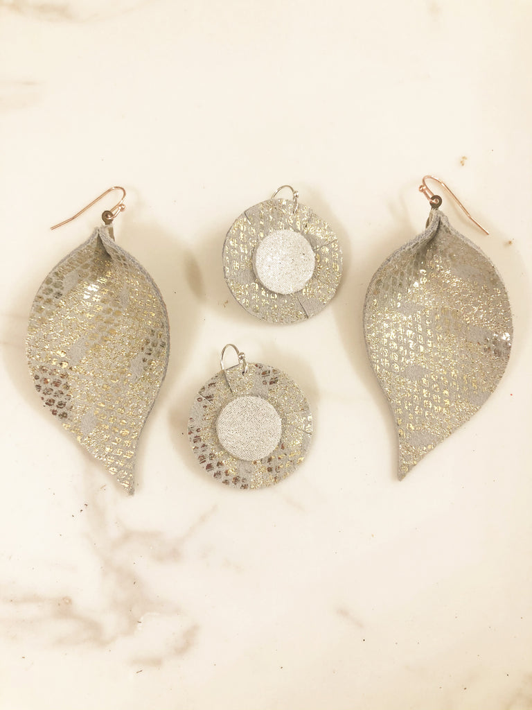Stunning Silver and Gold Single Layer Leaf Earring