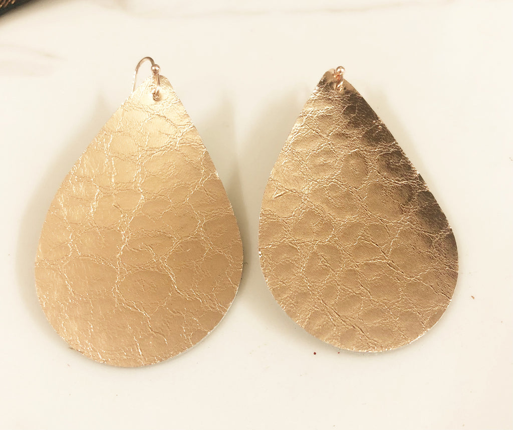 Tear Drop Earrings in Rose Gold with Embossed Leopard Print