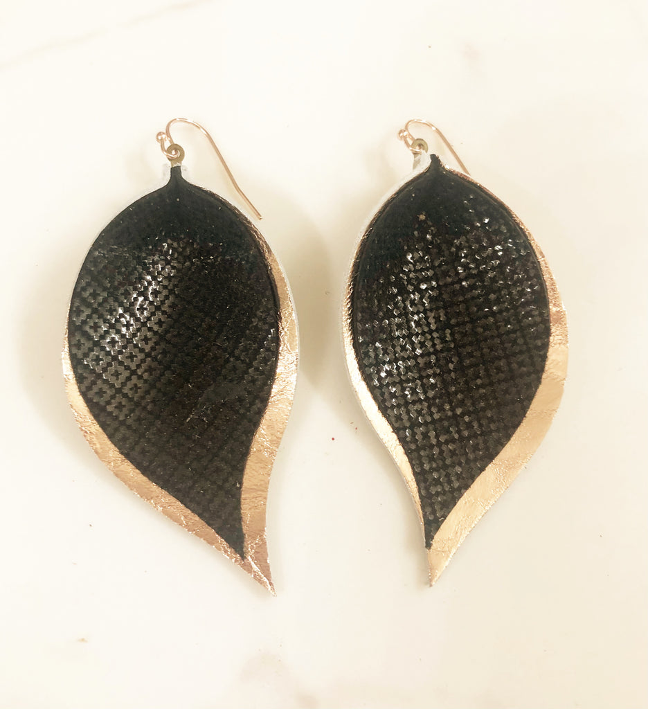 Metallic Black Geometric pattern and Rose Gold Double Leaf Earrings