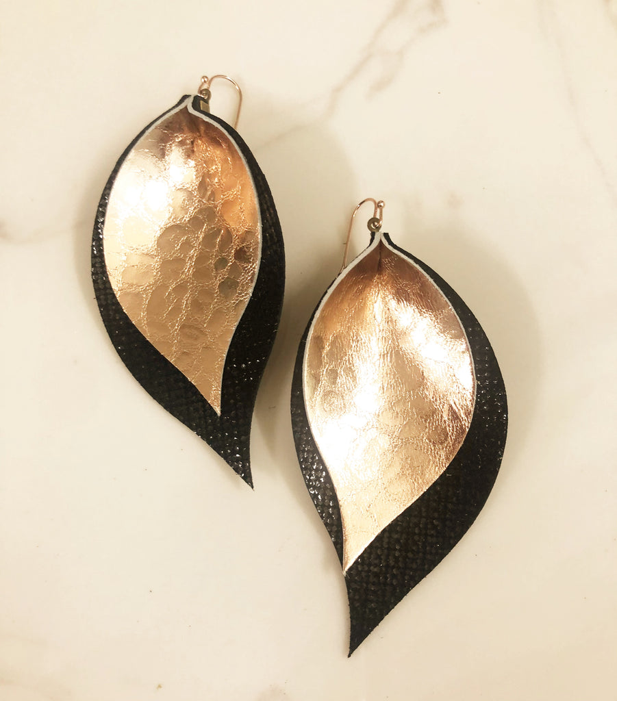 Leopard Rose Gold and Black Double Leaf Earrings