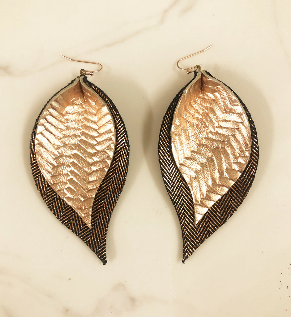 Rose Gold and Black Double Leaf Earrings