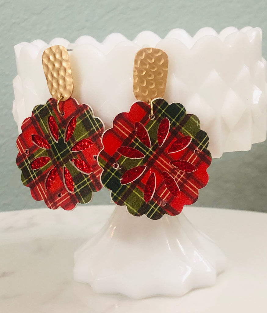 Plaid Scallop Sand dollar Festive Red Green and Gold Earrings