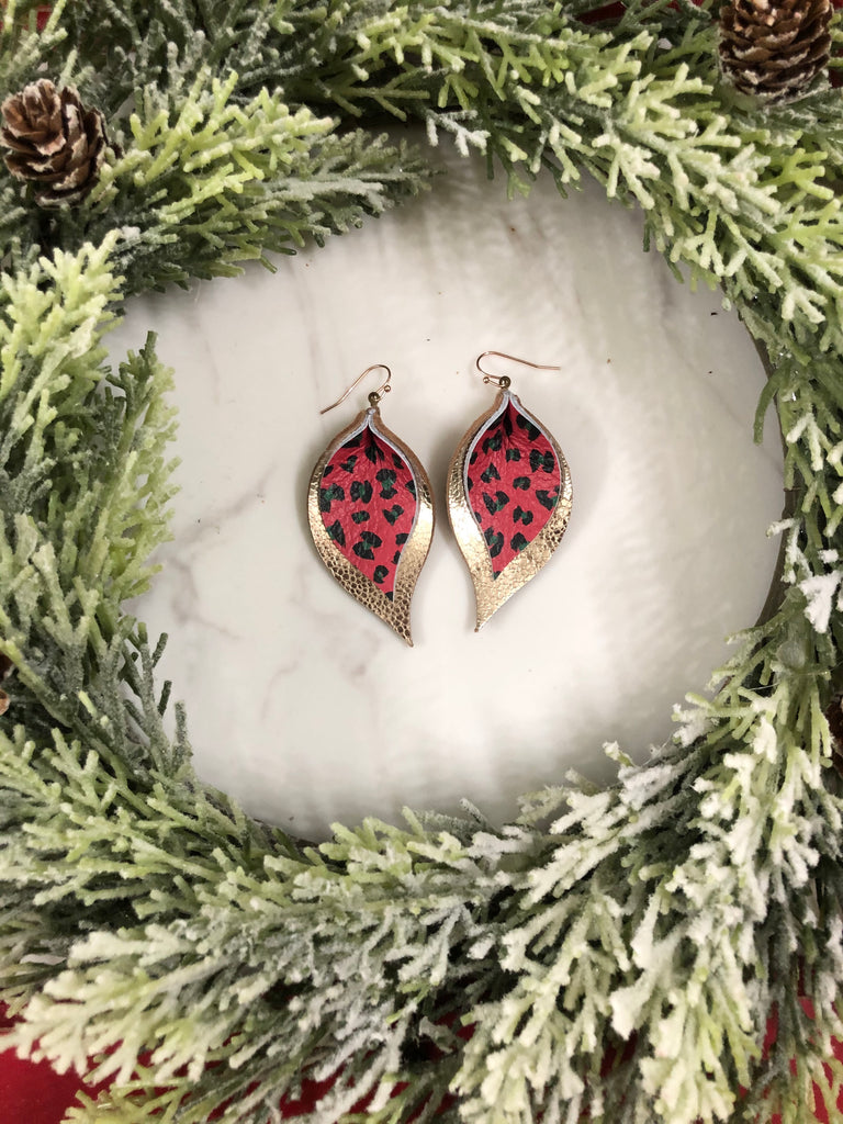 Red and Deep Green Leopard and Gold Double Layer Leaf Earring