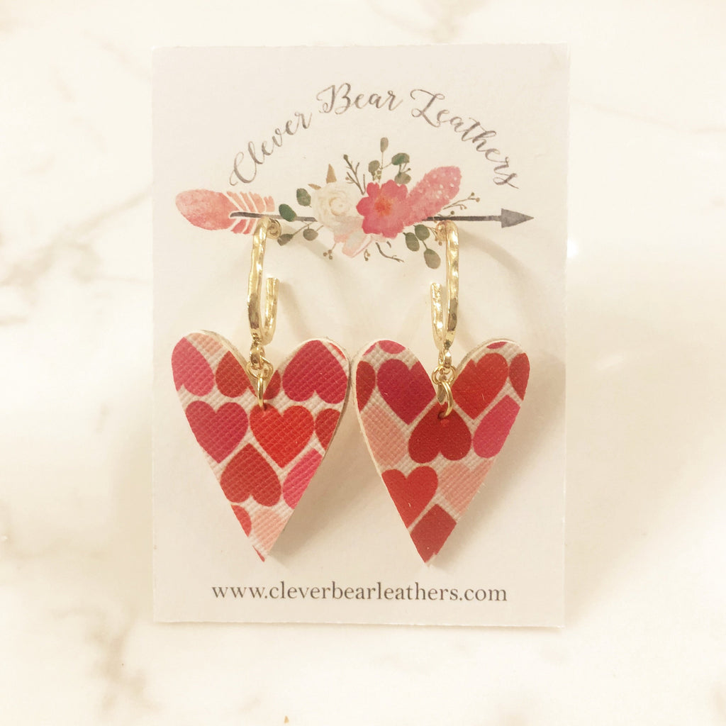 Shades of Pink Heart Printed Leather Earrings with Dainty Gold Oblong Hoop Studs