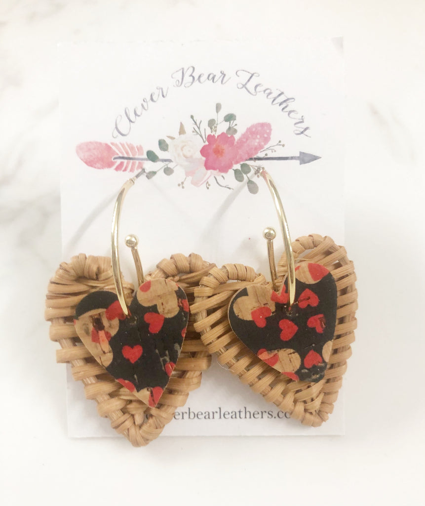 Woven hearts Layered Drop Earrings on Gold Oblong Hoop Studs