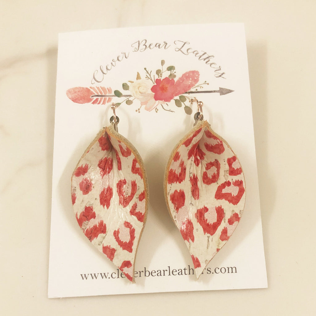 Valentine Leopard Single Layer Leaf Earrings in White, Red and Pink