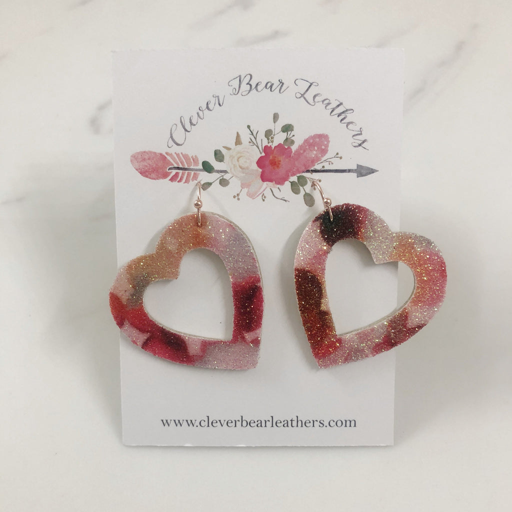 Open Hearts Drop Earrings Red & Pink Glitter Design