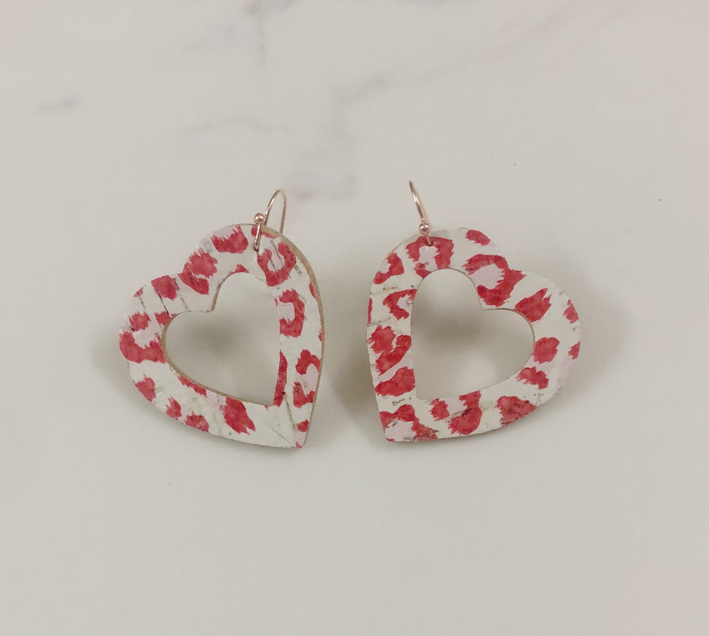 Open Hearts Drop Earrings Red and Leopard Design