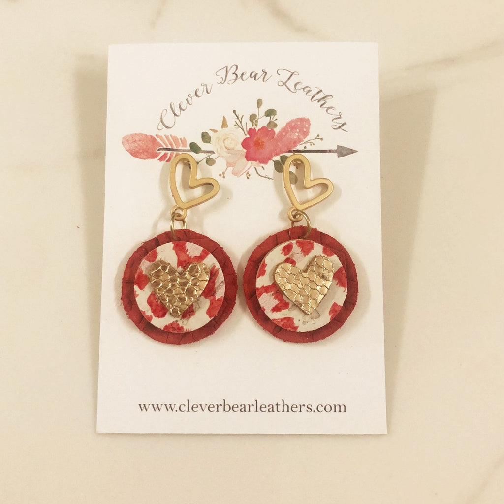 Sweet and Dainty Circular Drop Earrings with Heart Stud