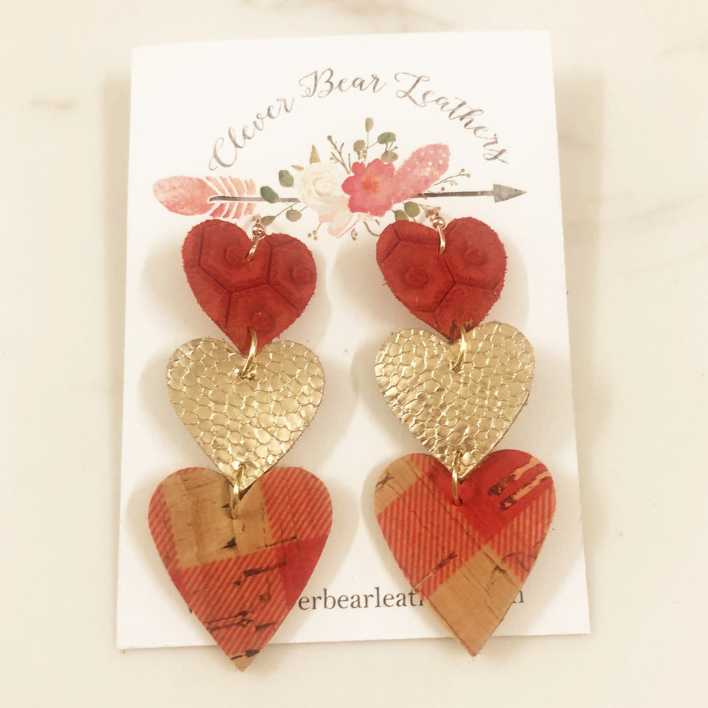 Triple Layer Heart Dangle Earrings in Gold Glitter and Plaid