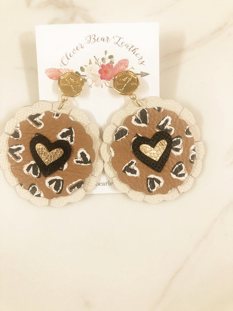 Heart Print Glitter Gold and Black Circle Scalloped Layered Earring with Gold Cupid Stud