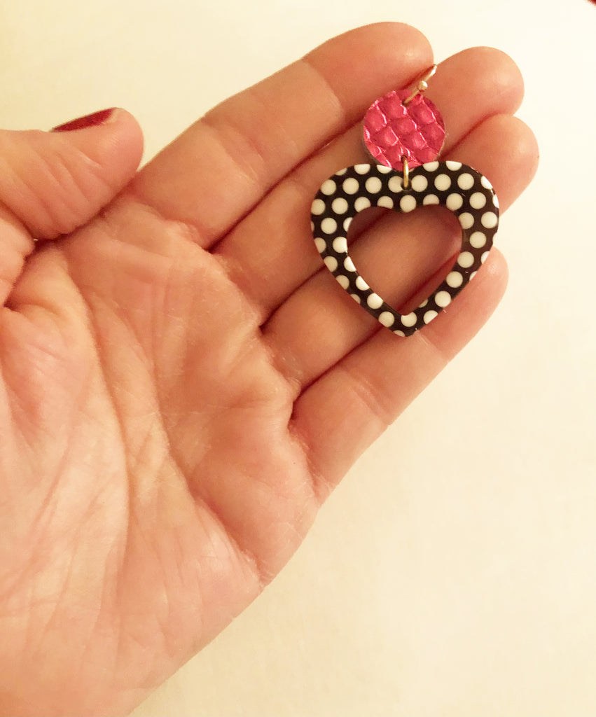 Black and White Polka Dot Acrylic Heart Earring with Hot pink and Gold accents