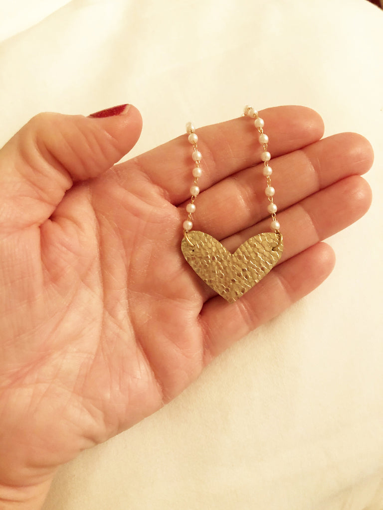 Dainty Gold Leather Heart and Pearl Chain Necklace