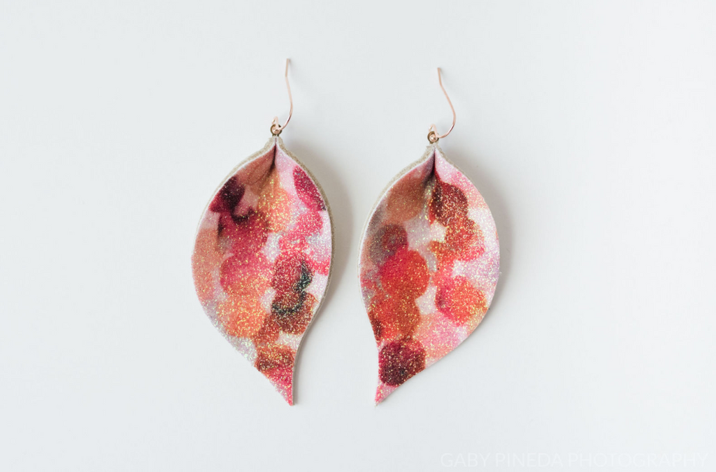 Fine Glitter Leaf Earrings Cranberry and Gold