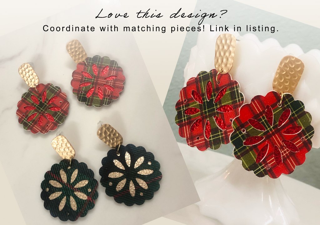Green and Navy Plaid Scallop Sand dollar Festive Gold Earrings