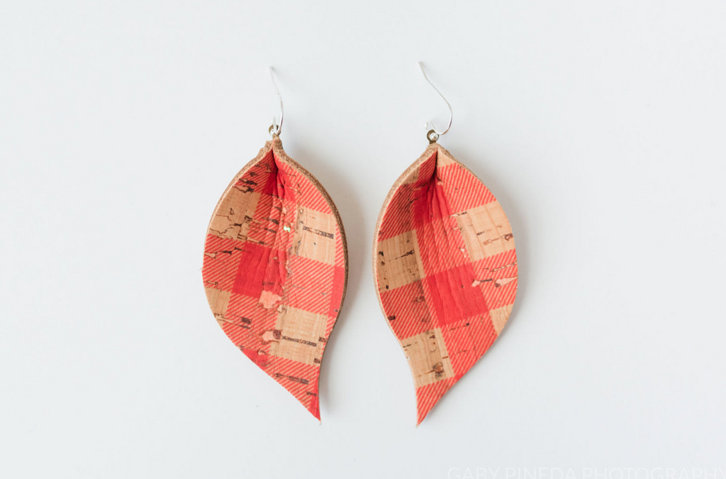 Red Plaid Cork Single Layer Leaf Earring
