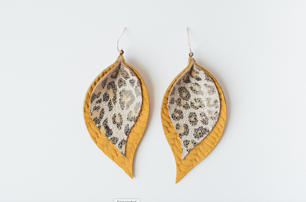 Mustard and Leopard Double Layer Leaf Cork