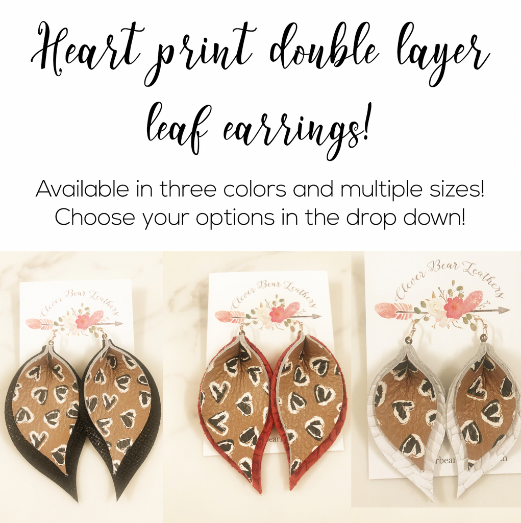 Sweetheart Print Double Layer Leaf in Black, Red or White