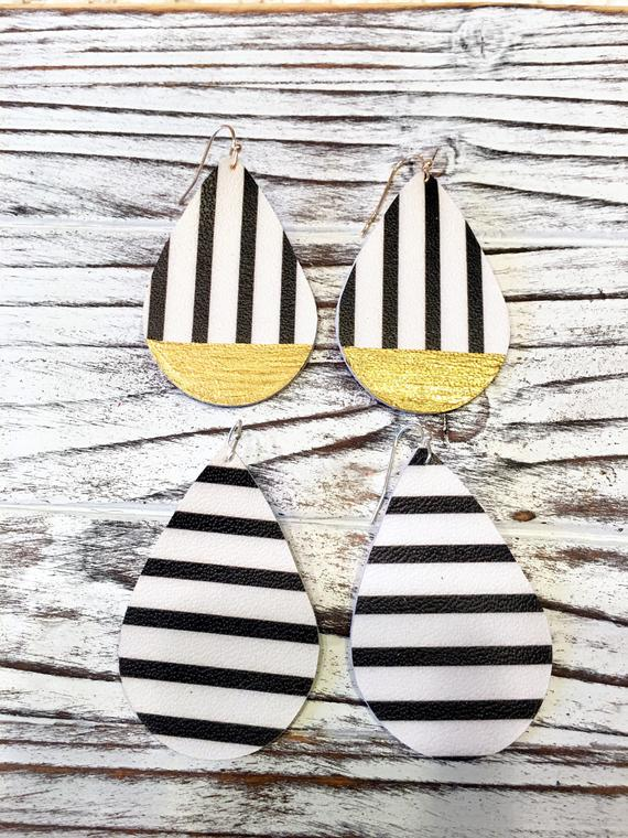 Black & White Striped Teardrops