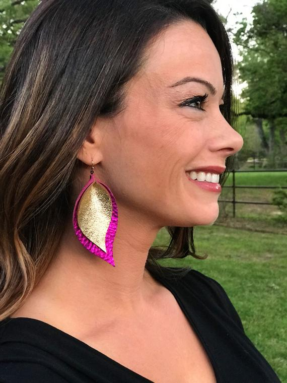 Glitter Gold & Metallic Fuchsia Double Layer Leaf Earrings