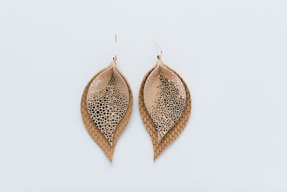 Rose Gold Stingray & Textured Tan Double Layer Leaf Earrings