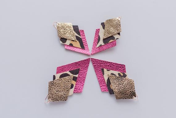 Glitter Gold, White Leopard & Party Pink Triple Layer Aztecs & Diamonds