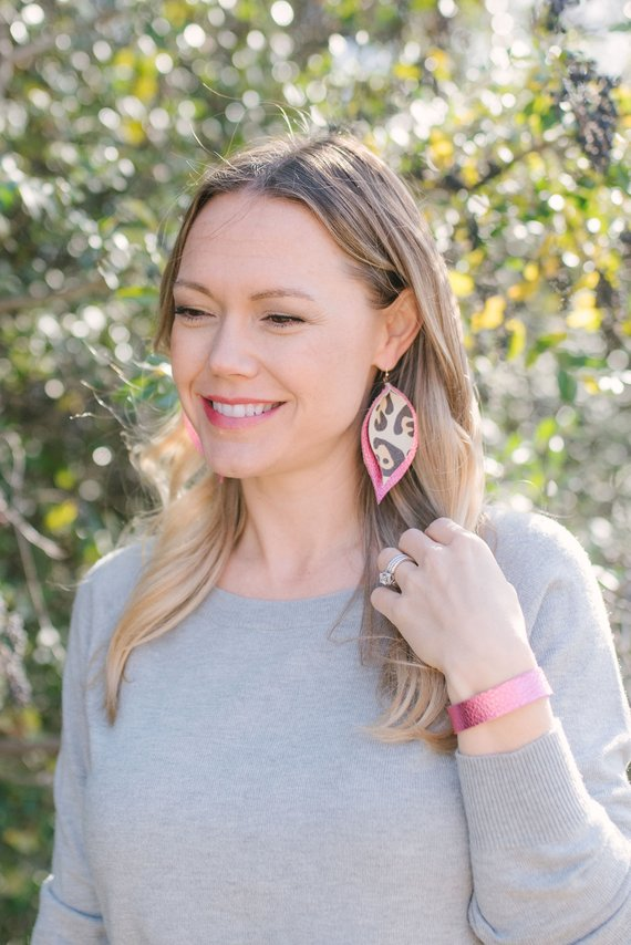 White Leopard & Party Pink Double Layer Leaf Earrings
