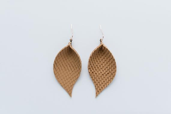 Textured Tan Single Layer Leaf Earrings