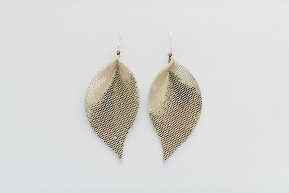 Disco Ball Silver Single Layer Leaf Earrings